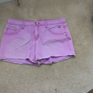 Purple jean shorts